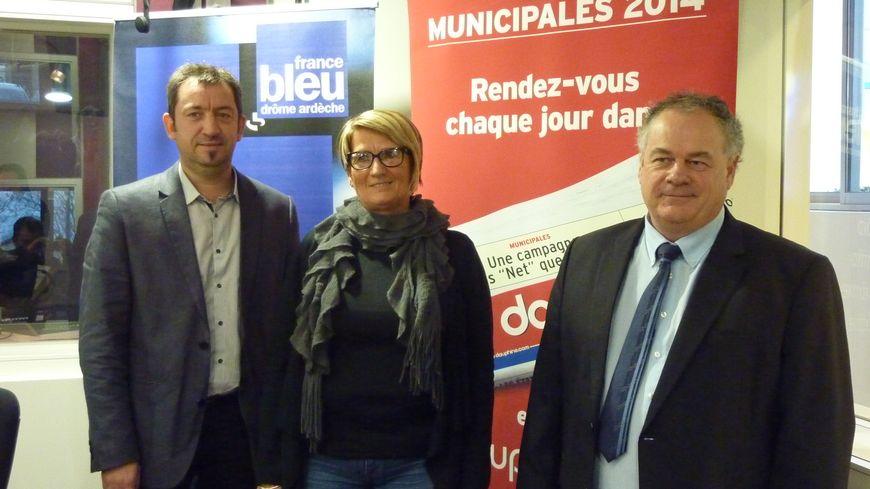 Les trois candidats pour les Municipales à Aubenas : Benoit Perrusset, Martine Dubois et Jean-Pierre Constant.