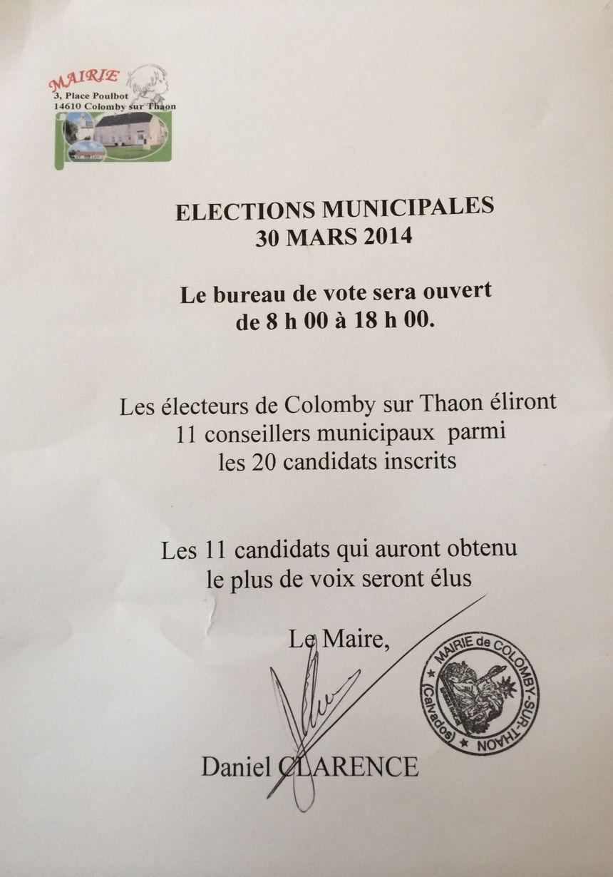 Un courrier de la municipalité informe de la tenue des élections, ce dimanche 30 mars, à Colomby-sur-Thaon - Radio France