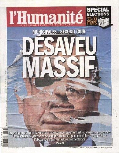 L'Humanité évoqué un désaveu massif envers François Hollande - capture d'écran