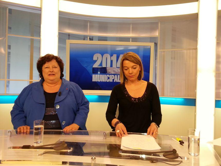 Brigitte Fouré, la candidate de droite et Vanessa Lamarre de France Bleu Picardie - Radio France