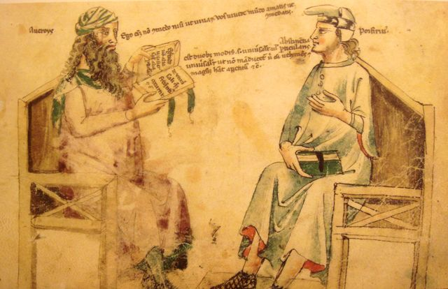 Débat imaginaire entre Averroès et Porphyre tiré du Liber de herbis de Monfredo de Monte Imperiali - XIVe siècle