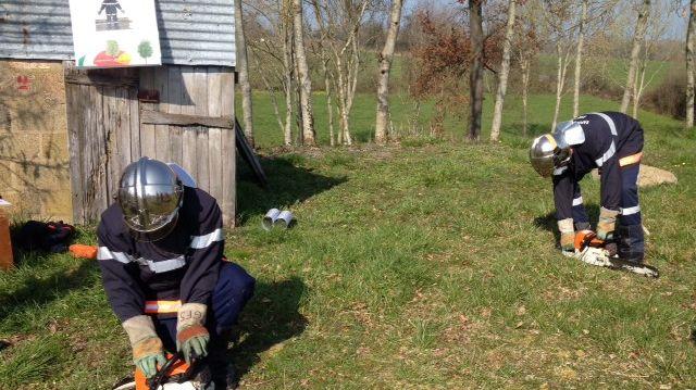 Les futurs pompiers s'entraînent à manier la tronçonneuse