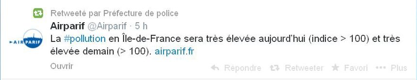 Pollution pref de police tweeter - Radio France