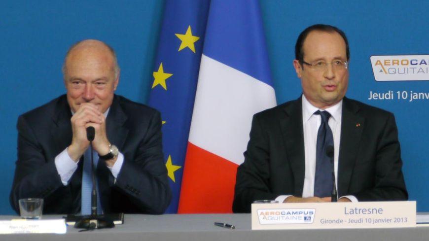 Alain Rousset en compagnie de François Hollande en Gironde en janvier 2013