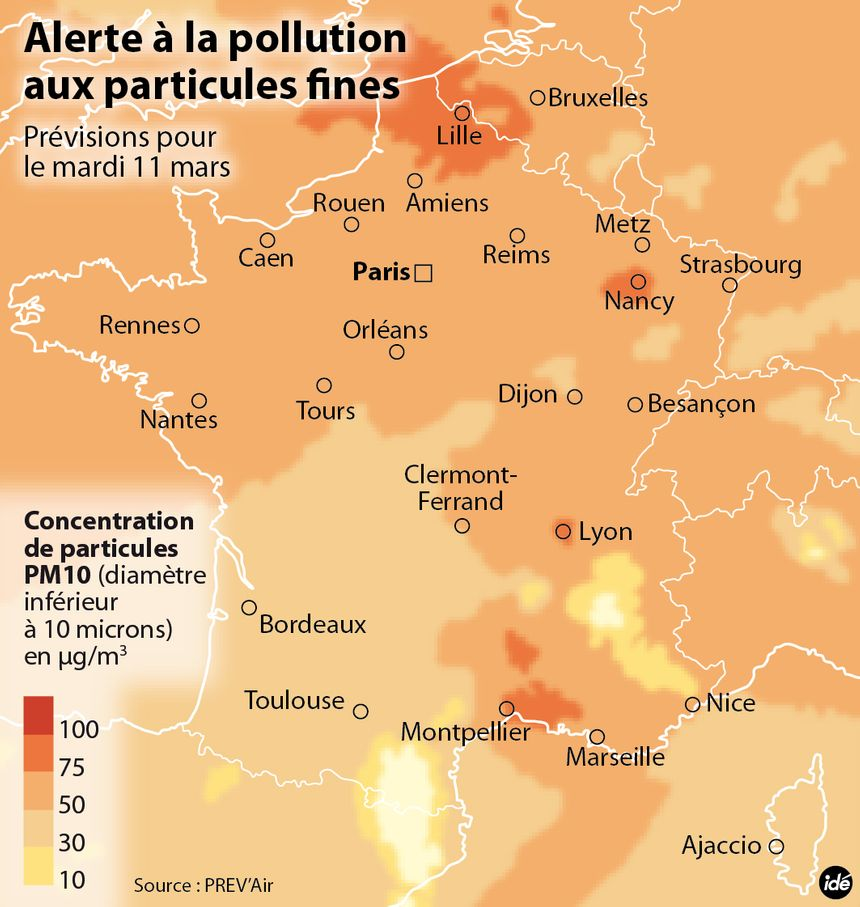La pollution aux particules fines a touché la France le mardi 11 mars. - IDÉ