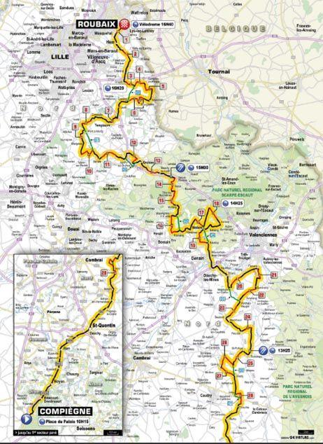 Paris-Roubaix 2014 : le parcours. - letour.fr