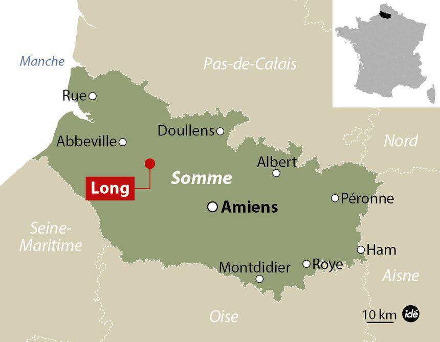 Carte de localisation - Long dans la Somme  - IDÉ