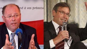 À gauche, Benoît Huré, pdt conseil général des Ardennes ; à droite, René-Paul Savary, pdt conseil général de la Marne.