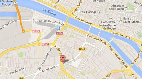 L'immeuble Concorde se trouve au 95 avenue de Bretagne à Rouen, rive gauche, quartier St Sever (capture d'écran Google Map).