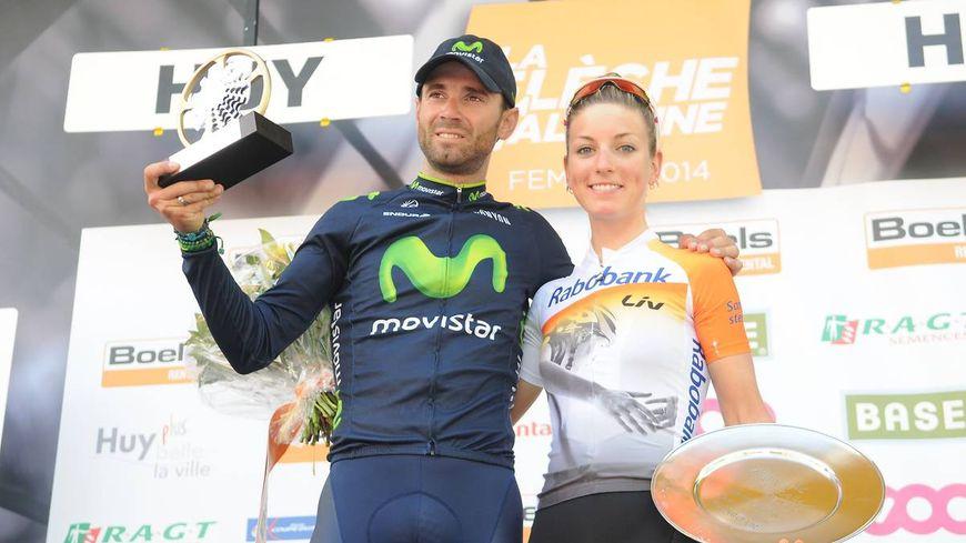 Les vainqueurs de la Flèche Wallonne : Alejandro Valverde et Pauline Ferrand Prevot