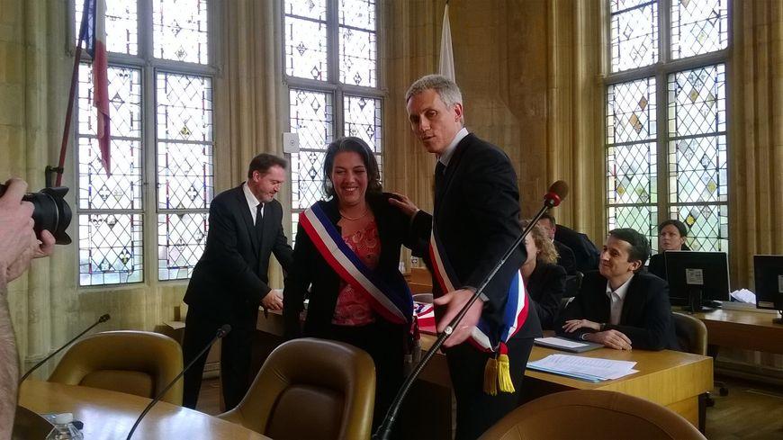 Joël Bruneau, maire de Caen, et Sonia de la Provôté, sa première adjointe.