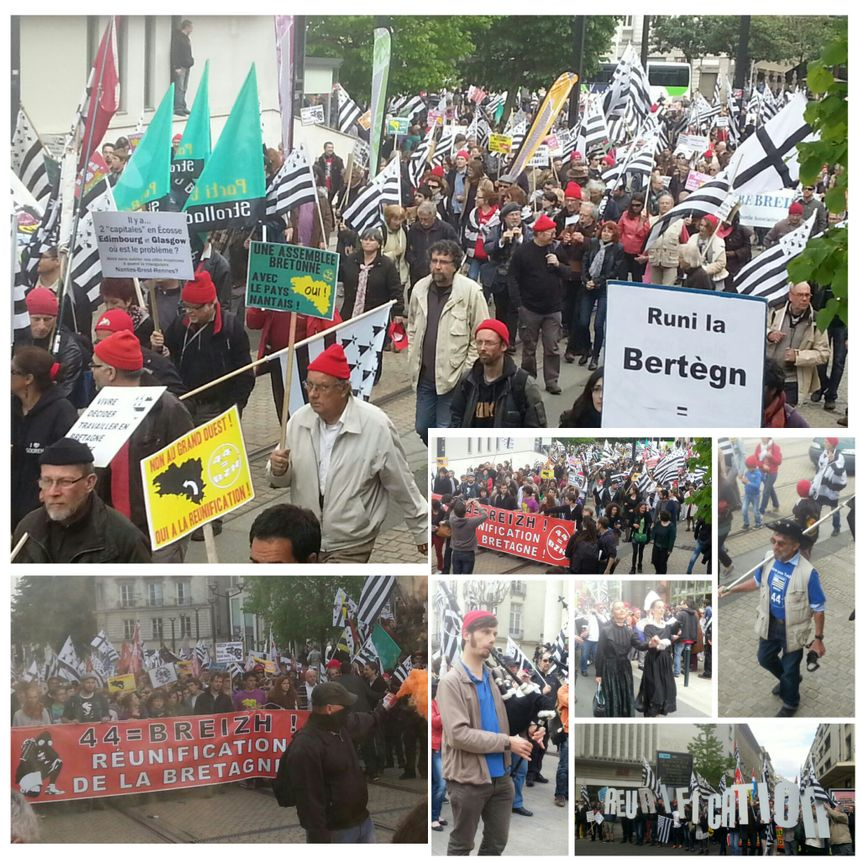 Marée de drapeaux bretons à Nantes pour le rattachement de la Bretagne à la Loire-Atlantique - Mikaël Roparz-Radio France