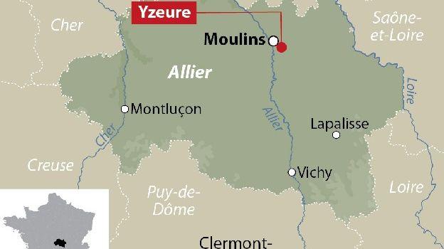 La carte de localisation d'Yzeure dans l'Allier.