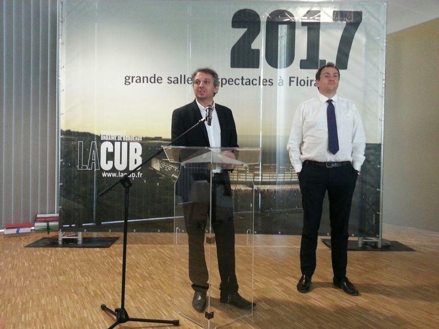 Vincent Feltesse président de la CUB et Jérôme Langlet pour le groupe Lagardère - Radio France