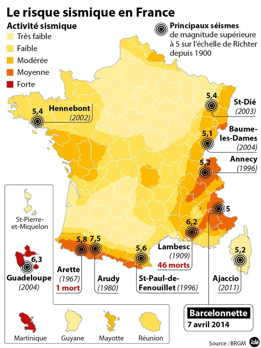 Les risques sismiques en France. - IDÉ