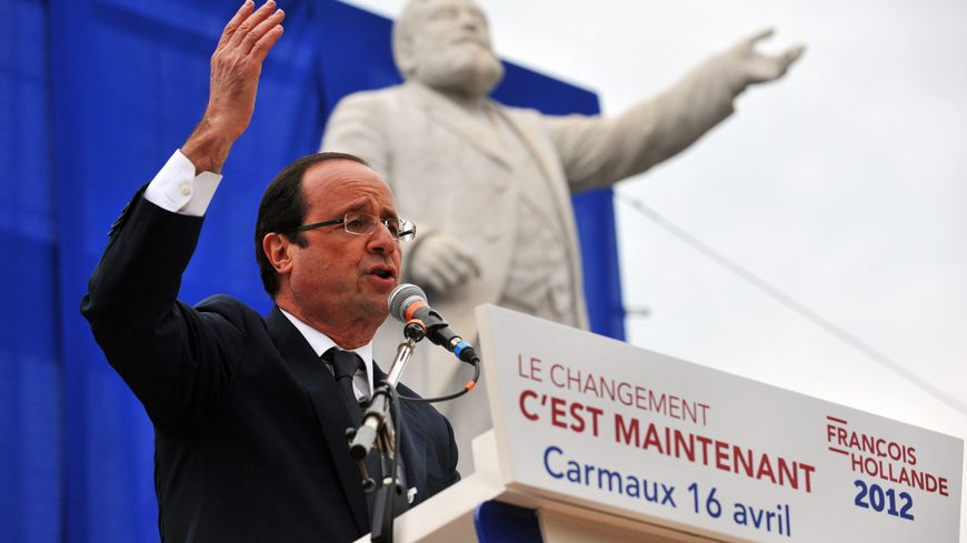 François Hollande en meeting à Carmaux lors de la campagne présidentielle 2012