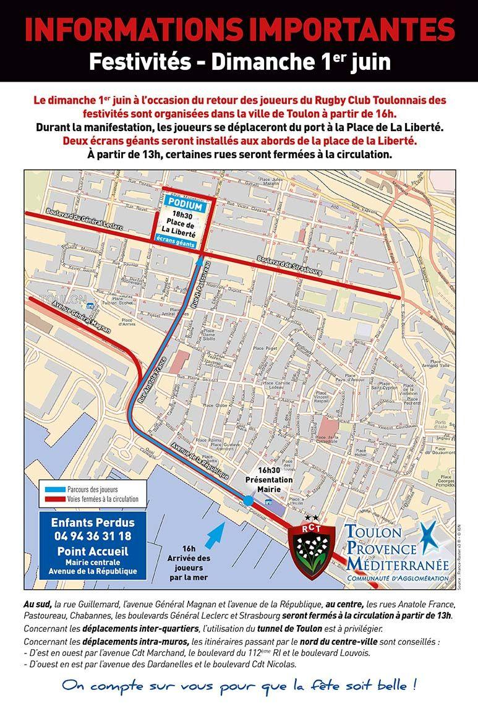 Plan de circulation à Toulon le 1er juin - Mairie de Toulon