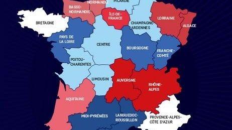 La carte des 14 régions proposée par François Hollande