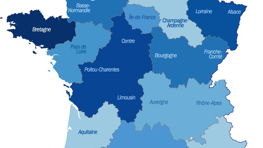 La carte des 14 nouvelles régions proposée par François Hollande.
