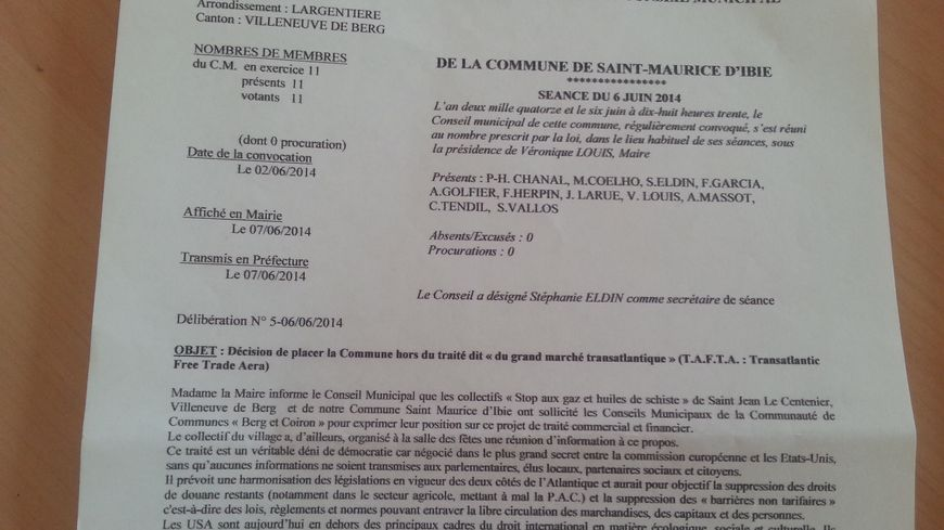 La délibération du conseil municipal de Saint Maurice d'Ibie