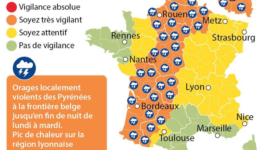 Météo France a placé ou maintenu 39 départements en alerte orange aux orages.