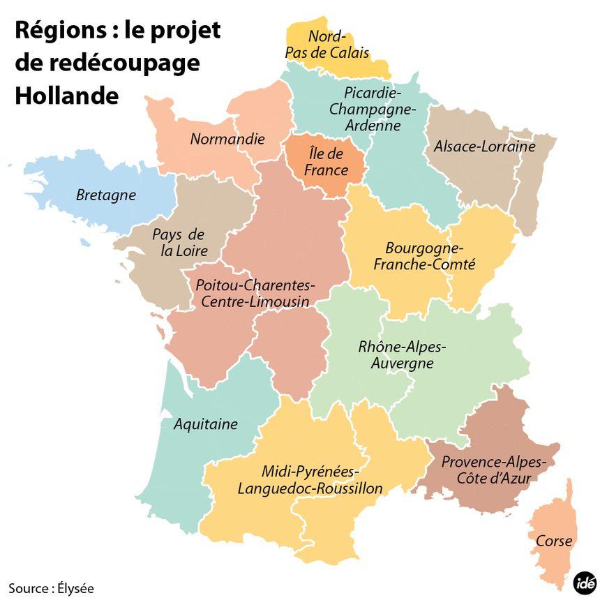 Le projet de redécoupage des régions de François Hollande - IDÉ