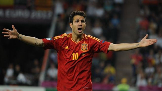 Cesc Fàbregas sous le maillot de l'Espagne, pendant l'Euro 2012