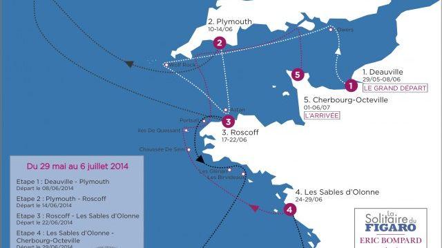 La carte du parcours de la 45e édition de La Solitaire du Figaro