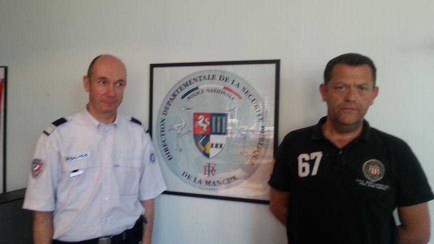 Le commandant Olivier Ledanois de la police de Cherbourg et David Ecourtemer, de la sureté départementale