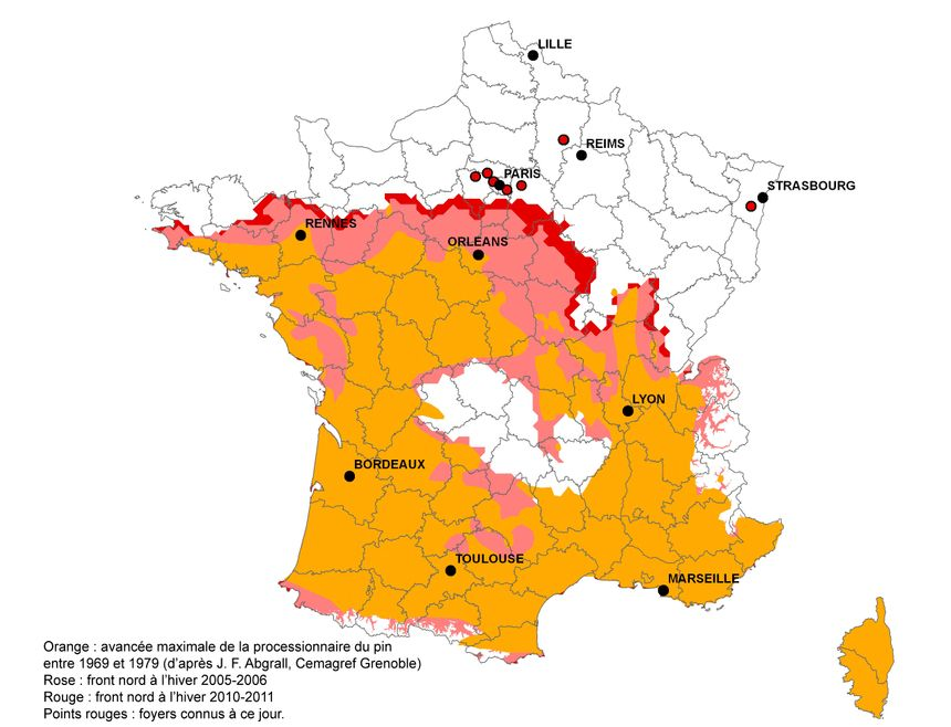 Carte 2013 INRA chenilles procressionnaires - inra URZF