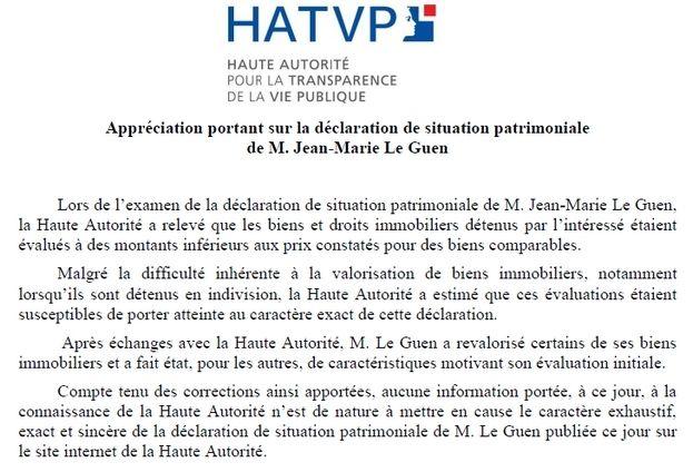 Appréciation de la HATVP à Jean-Marie Le Guen - HATVP.fr