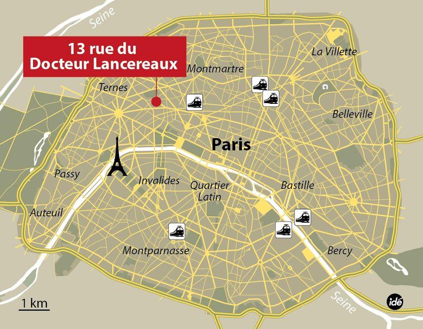 Carte de localisation du 13 rue du Docteur Lancereaux (Paris 8e) - IDÉ