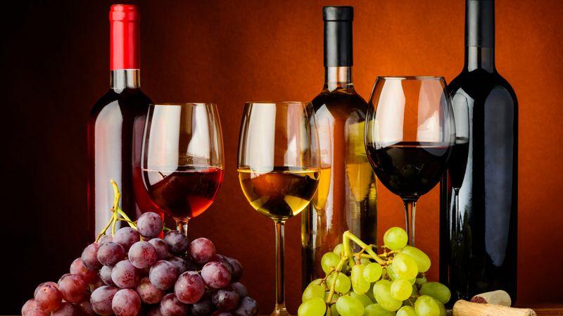 Vin rouge, rosé et blanc (illustration)