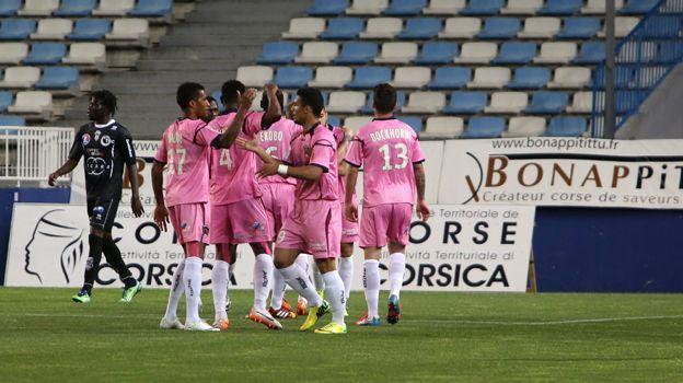 Les joueurs clermontois lors du match face à Bastia le 6 mai 2014.