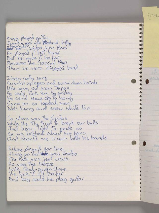 Manuscrit de Ziggy Stardust
