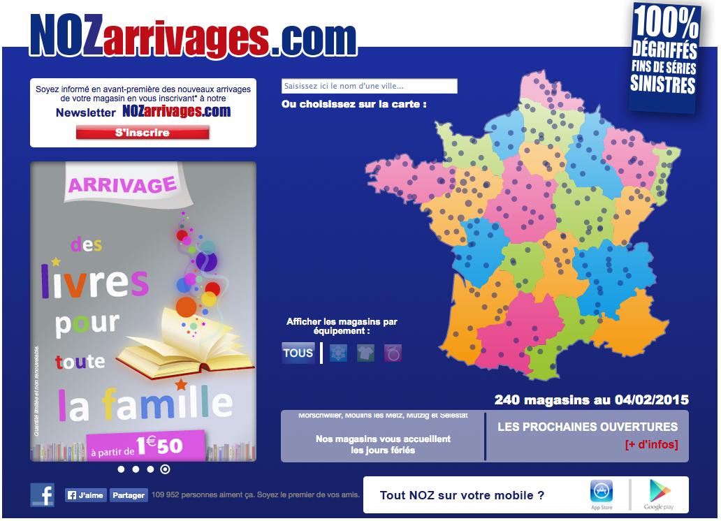 Capture écran de nozarrivages.com qui s'installe à Belfort.