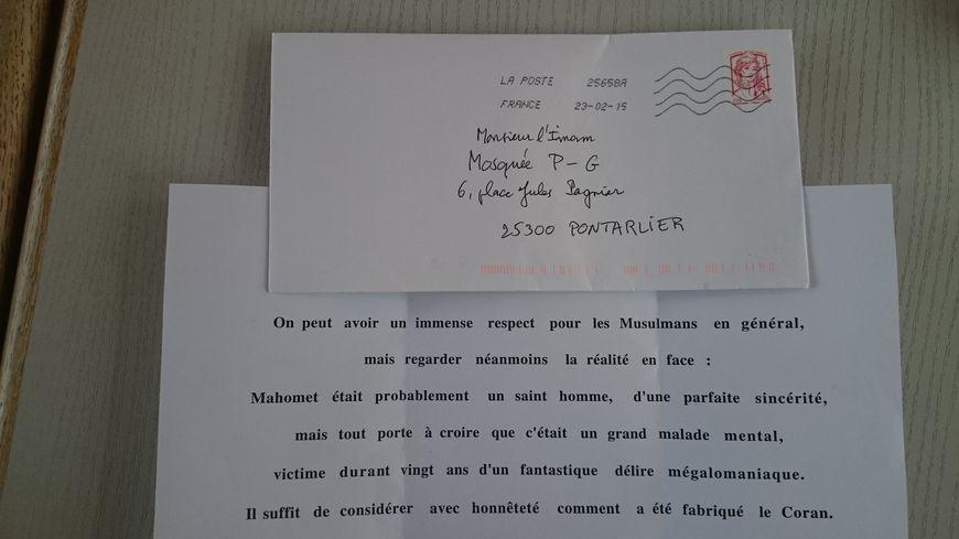mosquée imam lettre anonyme