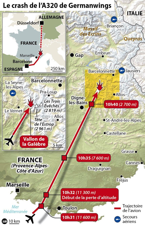 Carte des lieux du crash avec les horaires de passage de l'avion et son altitude.  - IDÉ