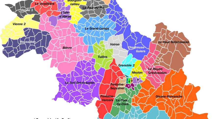 Les nouveaux cantons d'Isère.