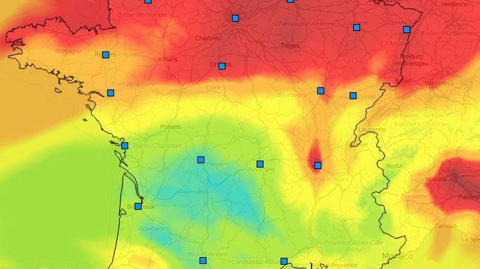 La carte des particules PM10, au 18 mars