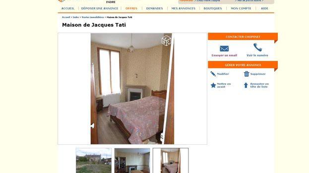 L'annonce sur le site Le bon coin pour la maison de Jacques Tati