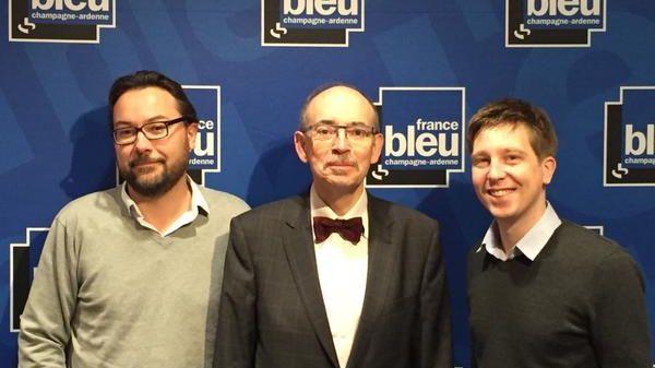 Vincent Thollet (France 3 Champagne-Ardenne), Hervé Chabaud (l'Union) et Clément Lhuillier (France Bleu Champagne-Ardenne)