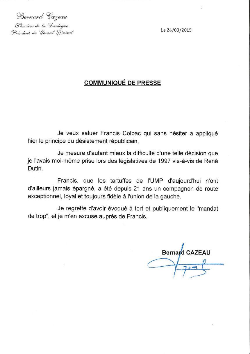 Le communiqué de presse de Bernard Cazeau - Radio France