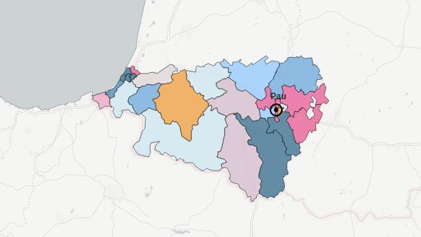 Les Pyrénées-Atlantiques à l'issue du premier tour, les couleurs indiquent la formation arrivée en tête.