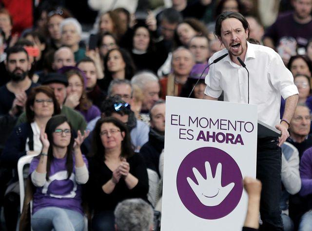 Pablo Iglesias, leader du parti Podemos, à Barcelone en Espagne.