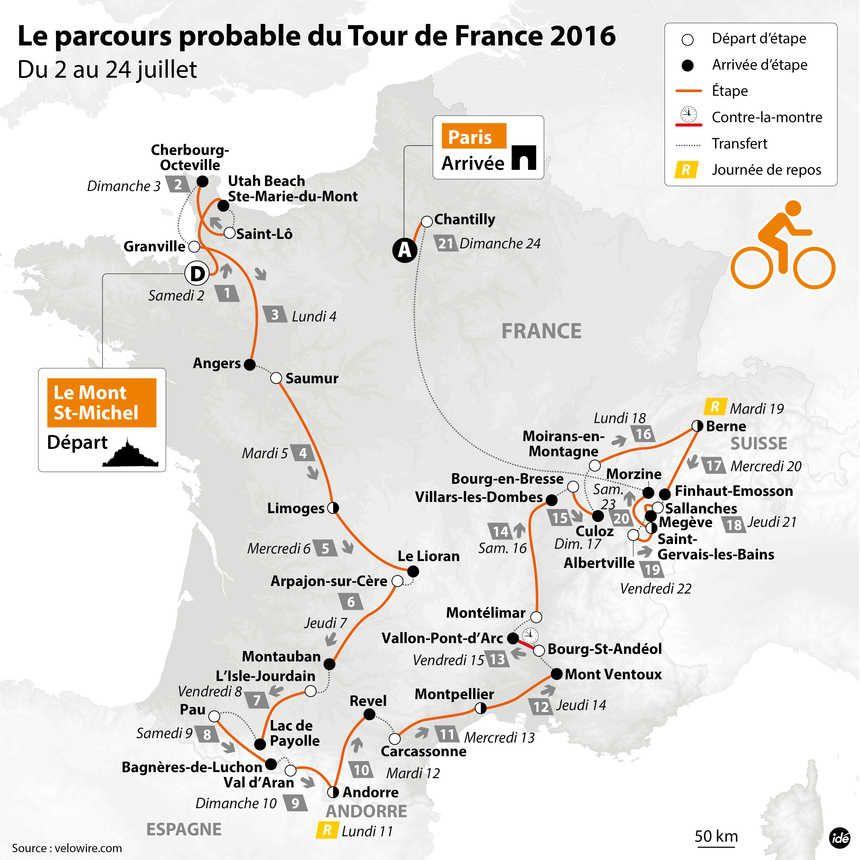 CARTE | Le probable parcours du Tour de France 2016