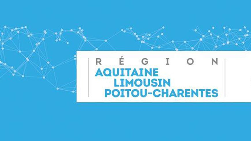 Le logo de transition de la nouvelle région sur fond bleu.