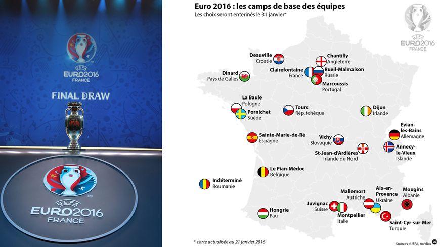 Les camps de base des équipes pour l'Euro 2016
