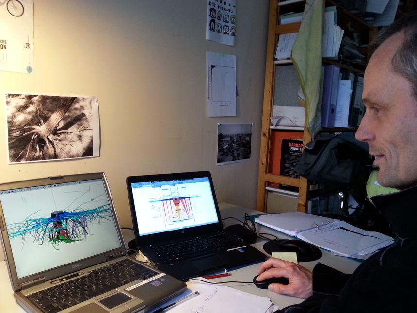 Frédéric Danjon de l'Inra étudie les racines du pin maritime sur ordinateur - Radio France