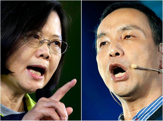 Tsai Ing-wen, leader du parti d'opposition et Eric Chu, candidat du Kuomintang